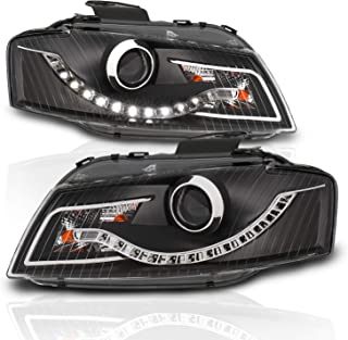AmeriLite Black Projector Headlights (R8 LED Style) for Audi A3 - Passenger and Driver Side