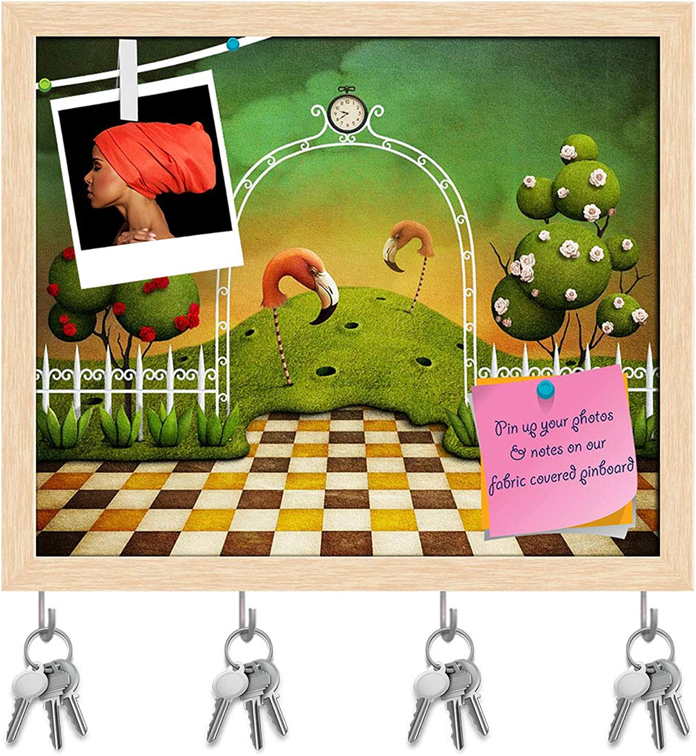 Artzfolio Flamingo & Trees with pinks Key Holder Hooks   Notice Pin Board   Natural Brown Frame 19 X 16Inch