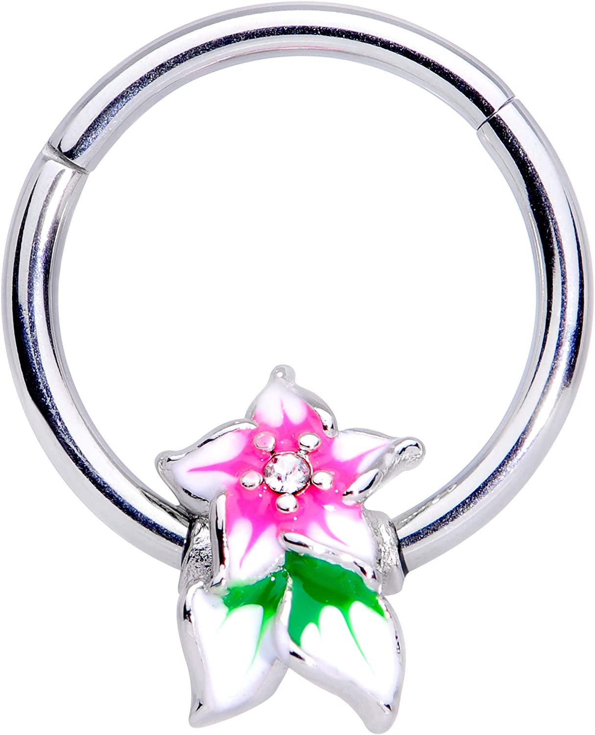 Body Candy Women 16G 316L Steel Septum Tropical Flower Daith Tragus Nose Ring Cartilage Clicker 3/8