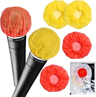 Akamino 400 Pieces Disposable Microphone Cover - Sanitary Antimicrobial Karaoke Windscreen Mic Cover for KTV Recording Roo...