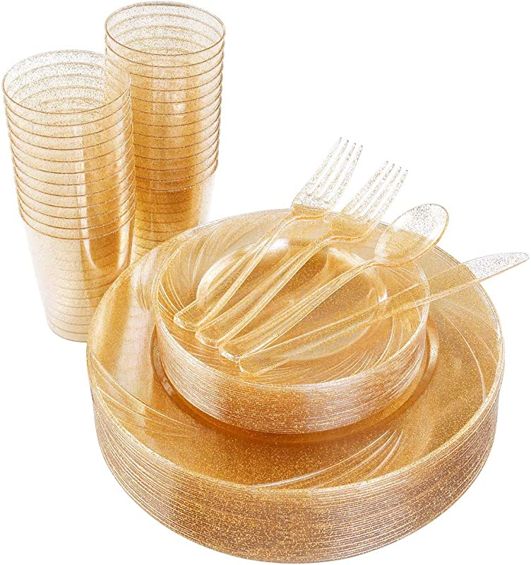 175pcs Gold Glitter Plastic Plates Cups With Gold Disposable Silverware Includes 25 Dinner Plates 10 25 25 Dessert Plates 7 5 25 Tumblers 10oz 50 Forks 25 Knives 25 Spoons