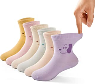 Girls Cotton Crew Socks Kids Seamless Toe Socks Colorful Athletic Quarter Socks