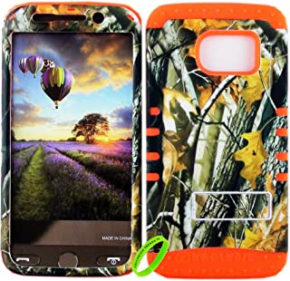 Cellphone Trendz Dual Layer Soft Hard Hybrid High Impact Protective Case Cover for Samsung Galaxy S6 Edge - Camo Real Hunter Series Mossy Oak Big Branch Tree Design Hard Case on Orange Skin