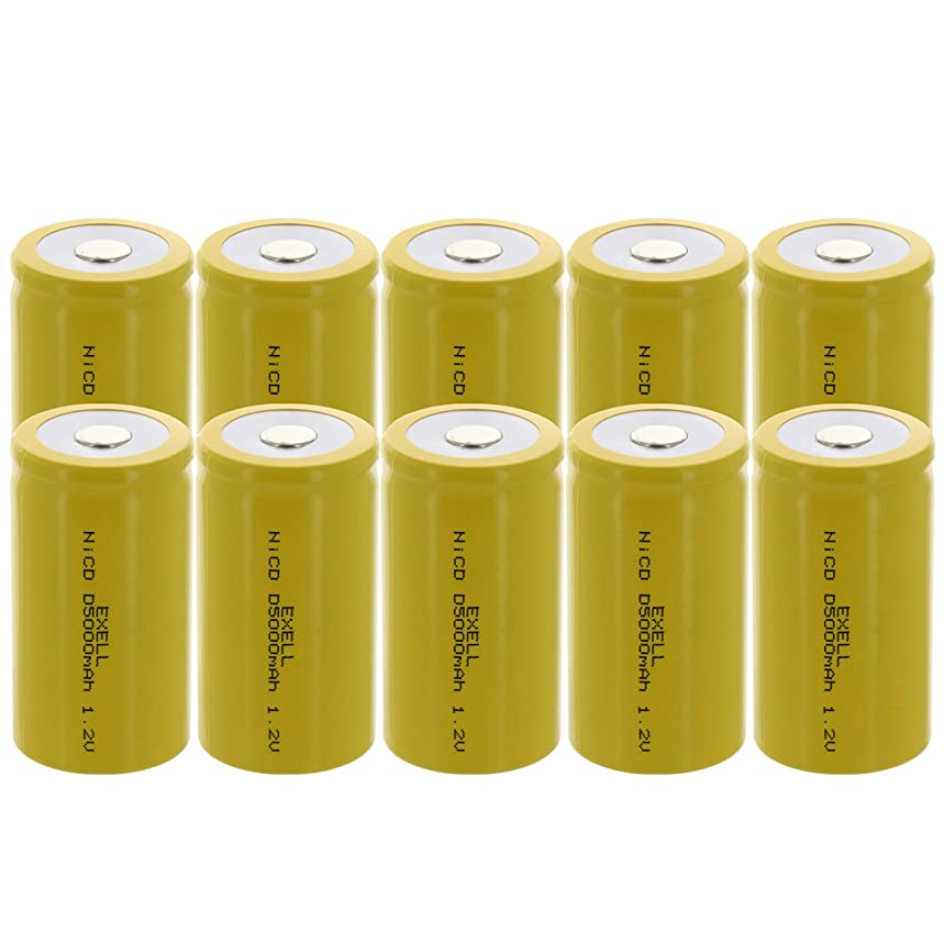 10x Exell D Size 1.2V 5000mAh NiCD Flat Top Rechargeable Batteries for meters, radios, hybrid automobiles, high power static applications (Telecoms, UPS and Smart grid), radio controlled devices