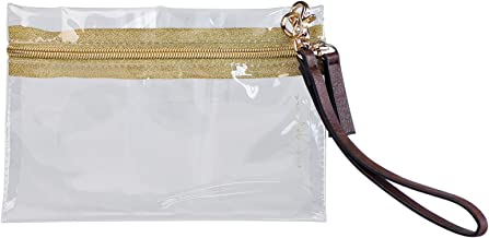 MB Greene Designer Clear Stadium Approved Wristlet Bag or Clutch with Removable Strap for Concerts and Sporting Events