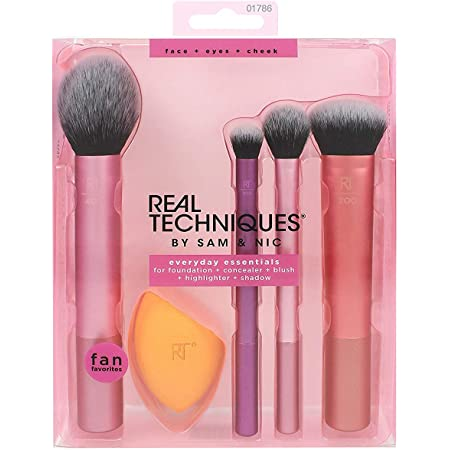 REAL TECHNIQUES By Sam & Nic Everyday Essentials For Blush + Foundation + Shadow + Highlighter + Concealer, 200 g, Multicolour