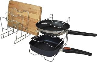 UPP soporte organizador para sartenes y ollas I sartenero, apoyo de utensilios para armario de cocina I 4 niveles, uso horizontal y vertical, metal cromado