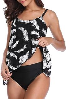 FLYILY Mujer Tankini baño de Malla para Conjunto de Dos Piezas Bikini de Cintura Alta Tallas Grandes