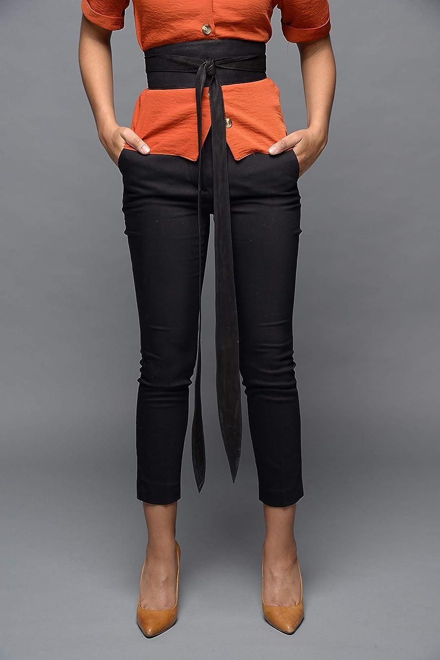 Leather handmade obi wrap belts - Black