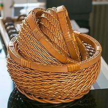 MAHFEI Round Rattan Woven Fruit Basket, Bread Roll Basket Retro Style Egg Basket Snack Storage Basket Storage Basket Set P...