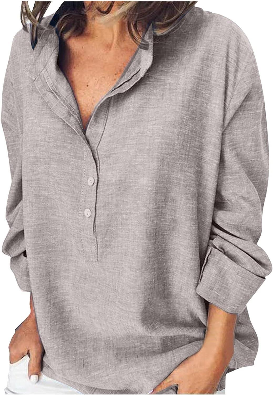 ManxiVoo Women's Top Casual Summer Autumn Tops Half Button V Neck Long Sleeve T-Shirt Blouses