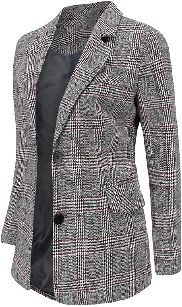 National products Aodrusa Womens Blazers Casual Suit Coat Pocke service Jackets Plaid with