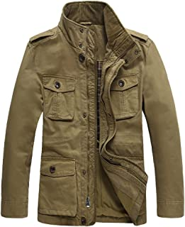 Men's Casual Military Windbreaker Jacket Cotton Stand Collar Field Coat with Shoulder Straps