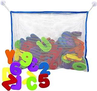 TOYANDONA Bath Foam Letters 1 Set Soft Foam ABC 123 Letters & Numbers with Mesh Net Educational Kids Bathtub Games for Tod...