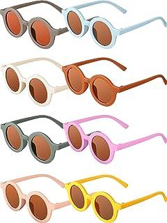 نظارات شمسية للأطفال من سن 3-10 سنوات نظارات شمسية مستديرة كلاسيكية من 8 أزواج
