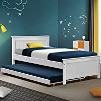 Artiss King Single Bed Frame Timber with Trundle Bed, White