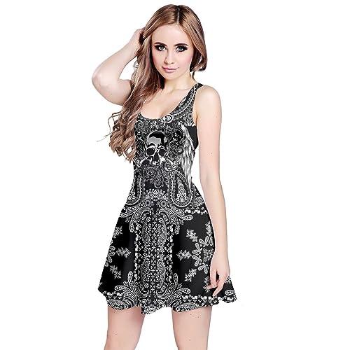 ab3fd6d558d59 CowCow Womens Grunge Skulls Skeleton Bones Horror Creepy Weirdo Scarry  Gothic Dark Sleeveless Dress