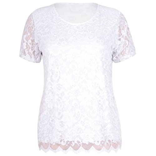 bc94b7310 Womens Short Sleeve Ladies Stretch Round Scoop Neckline Lined Floral Lace  Blouse T-Shirt Top