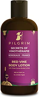 Pilgrim Anti Ageing Red Vine Body Lotion with Shea-Cocoa Butter & Aloe for Deep Nourishment and Moisturization, Men and Wo...