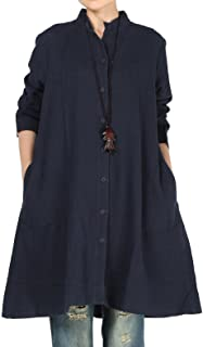 Mordenmiss Women's Cotton Linen Full Front Buttons Jacket Outfit with Pockets