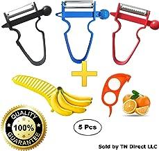 ComfoBee BPA FREE Magic Trio Peelers - Julienne, Shred, Slice Vegetables and Fruits - Peel Anything In Seconds (Set of 3 + Orange Peeler)