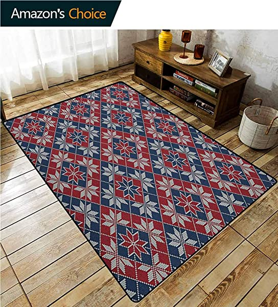 YucouHome Nordic Animals Area Rug Office Wool Knit Pattern With Tartan Geometric Stripes Flower Figures Print Durable Carpet Area Rug Living Dinning Room Bedroom Rugs And Carpets 3 X 5