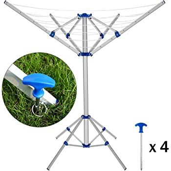 Espace de S/échage de Maille Base /à 4 Coins Stable GOPLUS S/échoir /à Linge Parapluie sur Pied Etendoir /à Linge Pliable en Aluminium Gain d/'Espace 100 x 100 x 150CM pour Ext/érieur//Int/érieur