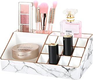 Luxspire Organisateur Maquillage, Support de Rouge à Lèvres en Matériau PS avec 16 Grilles, Boîte de Rangement Bords Dorés...