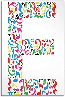 Letter E Room Decor for Girls,Wall Art and Language Themed Artistic Alphabet with Letter E Clef Caesura Note Signs Christm...