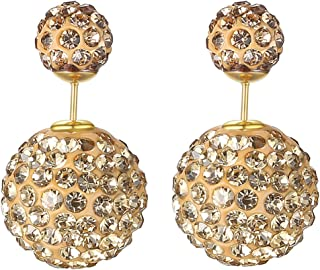 18K Gold Plated Champagne Colored Crystal Rhinestones double-sided Shambhala Style two Balls Women Stud Earrings