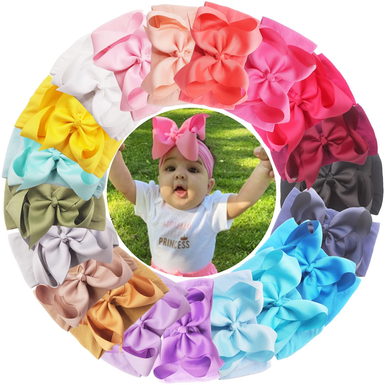 20PCS Baby Girls Very popular Soft Nylon Headbands Nyl Big Elastic Bows 6Inch discount