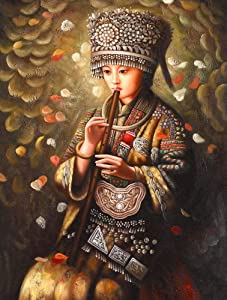 5D Diamond Painting Kits for Adults Fairy Tale Full Drilldiy Round Rhinestone Embroidery Mosaic Art Kit for Wall Decor-Hmong Girl Playing The Flute3040Cm