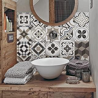 54 (Piezas) Adhesivo para Azulejos 10x10 cm - PS00089 - Braga - Adhesivo Decorativo para Azulejos para baño y Cocina - Stickers Azulejos - Collage de Azulejos