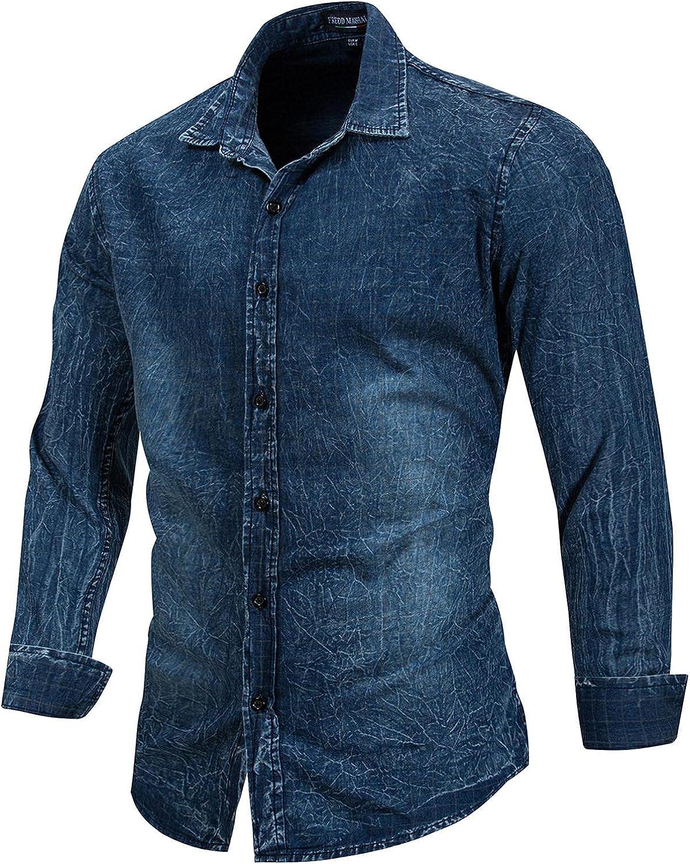 Zainafacai Men's Cotton Button Down Shirt Denim Shirt Casual Dress Shirts Long Sleeve Regular fit Shirt for Men