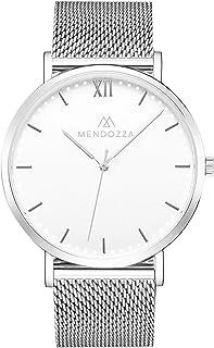 Mendozza White Moon Montre pour homme en acier inoxydable avec bracelet en maille et verre saphir Blanc