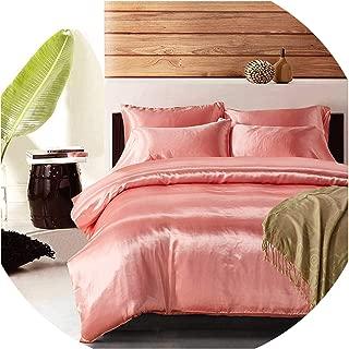 Zgen Satin Silk Duvet Cover Set US UK Size 3pcs/Set Modern Bedding Grey Oriental Quilt Covers Bed Set 7 Colors capa de edredon casal,Pink,UK-Double