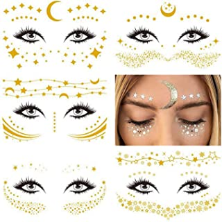 Face Temporary Tattoo Sticker, Freckle Sticker 5 Different Styles Face Gold Glitter Metallic Temporary Tattoo Water Transfer Tattoo for Professional Make up Dancer Costume