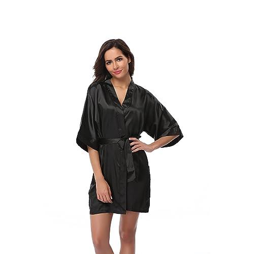 Vogue Bridal Women s Kimono Robe Solid Color Short Silk Bathrobe with Satin  Belt for Wedding Party cb2a186ab