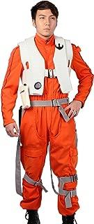 Poe Dameron Costume Deluxe Orange Jumpsuit Suit Halloween Cosplay Outfit