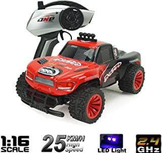 AHAHOO RC Cars 1:16 Scale 2.4Ghz High Speed 15MPH+ Radio Remote Control Monster Trucks 2WD Fast Electric Hobby Vehicle with LED Light and Sound (Red)