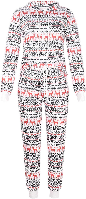 Christmas Women Pajama Set Two Piece Long Sleeve Pullover Sweatshirt Tops and Long Pants Sleepwear