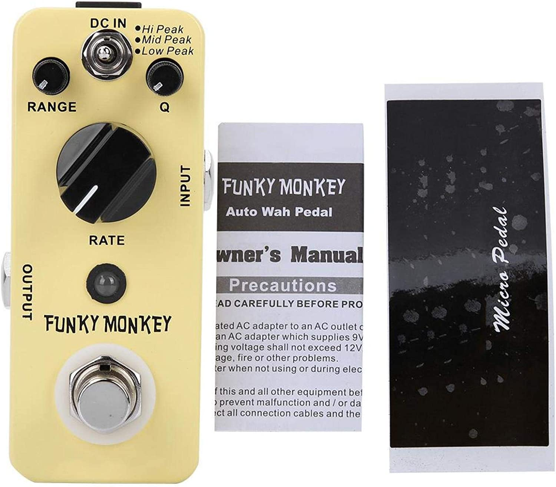 DC 9V Metal + Pedal de efecto de guitarra eléctrica de plástico con pegatina genial, Pedal de efecto Funky Monkey Wah para crear efectos musicales increíbles
