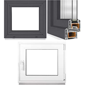 DIN Links Kellerfenster BxH: 60 x 50 cm Kunststoff Fenster anthrazit//wei/ß