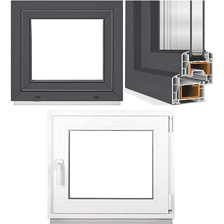 Kunststofffenster Fenster BxH: 50x70 cm DIN Links Breite: 50 cm x H/öhe: Alle Gr/ö/ßen Premium Dreh-Kipp-Funktion wei/ß Kellerfenster- 3-fach-Verglasung