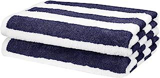 "AmazonBasics 2 Piece Cotton Beach Towel - 477 GSM - 60"" x 30"" (152.4 cm X 76.2 cm) - Cabana Stripe, Navy Blue"