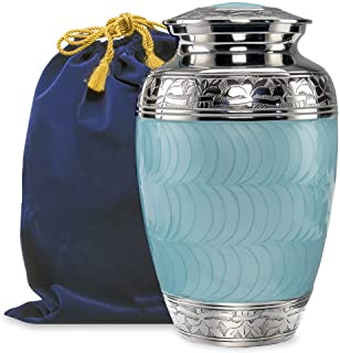 Hugs and Kisses Light Blue Adult Urn for Human Ashes - This Large Elegant Light Blue Enamel and Nickel Urn is a Perfect Tr...