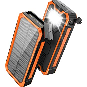 Solar Charger 30000mAh, Solar Power Bank, PD 18W QC 3.0 Quick Charge with 4 Outputs Dual Inputs USB Type C, External Backup Battery Huge Capacity Phone Charger for iOS and Android