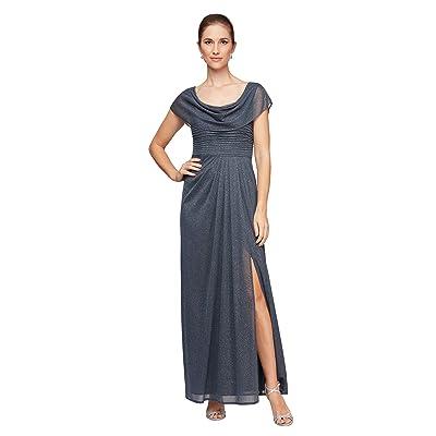 Alex Evenings Petite Long Glitter Mesh Cowl Neckline A-Line Dress (Smoke) Women