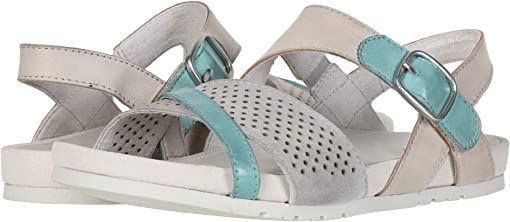 Silver Grey Silky Suede/Light Teal Soft Calf