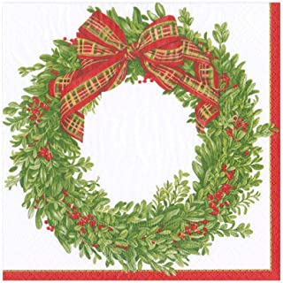 Caspari Boxwood and Berries Wreath Paper Luncheon Napkins - Two Packs of 20